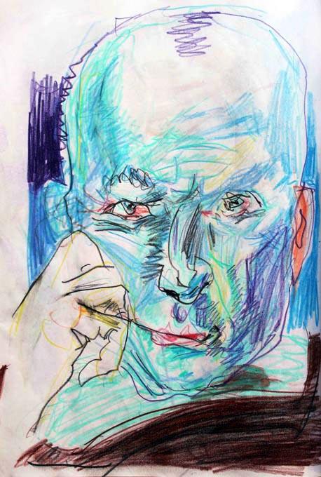 blauer Kopf - A4 - Buntstift