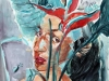 Frau mit Hummerscherenblume  60x40-cm